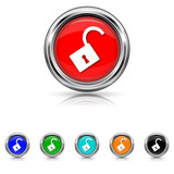 Open lock icon - six colours set