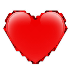 Isolated red vector heart with a border of triangles