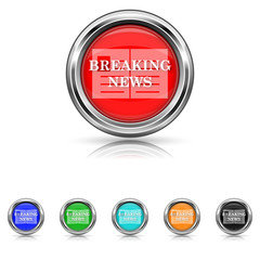 Breaking news icon - six colours set