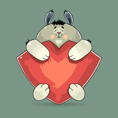 Adorable Valentine rabbit hugging a red heart