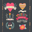 Valentine label set. Valentine`s Day emblems. Vector illustratio