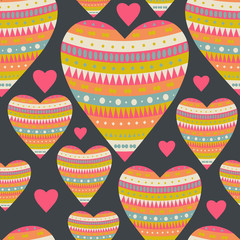 Seamless pattern with hearts for Valentine's Day design. Decorat