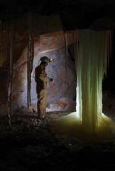 Caver in  Dachstein Mammut Cave.