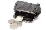 Black leather purse with silver coins.