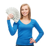 smiling girl with dollar cash money