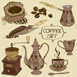 Set of isolated coffee icons