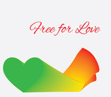 Free for love,open green light heart