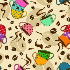 Seamless pattern of coffee cups