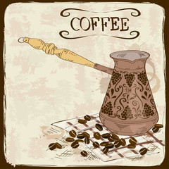 Coffee background with copper turk