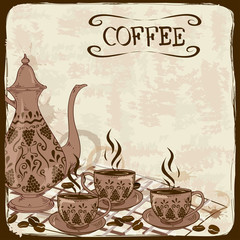 Illustration with coffee pot and cups