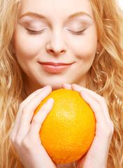 woman with big orange