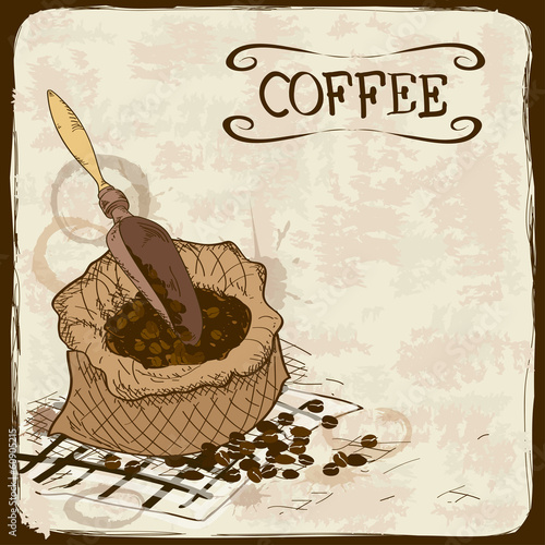 Illustration with coffee beans, bag and scoop