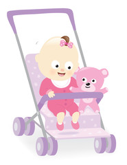 Baby girl in stroller with teddy bear