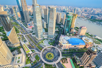 aerial view of shanghai lujiazui