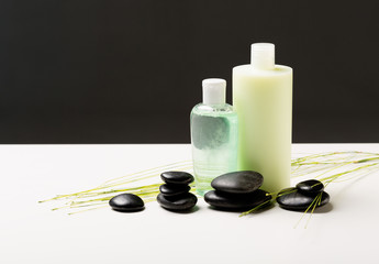 shampoo bottle, massage stones and green plant