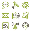 Communication icons, green line contour series