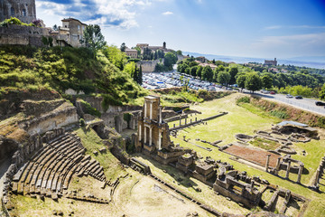 Aerial view of ancient roman amphitheatre
