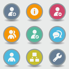Users web icons, color circle buttons