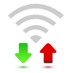 Wifi with red and green arrow on white