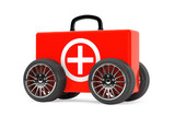Red Medical Case on Wheels