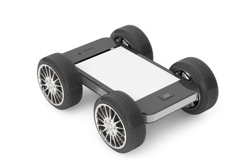 Mobile Phone with Blank Screen on Wheels