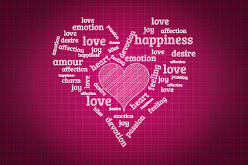Valentines day and love concept in word tag cloud