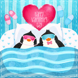 Valentines card with cute cartoon penguine