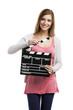Beautiful blonde woman holding  a chalkboard