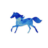 Blue horse silhouette.  Running Horse Silhouette. Cloud of ink i