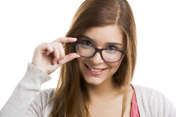 Beautiful and attractive blonde woman wearing glasses