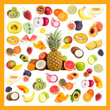 Collage of fresh fruits isolated on white
