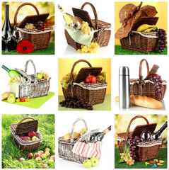 Collage of picnic baskets close-up