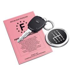 Permis de conduire avec porte-clé levier de vitesse