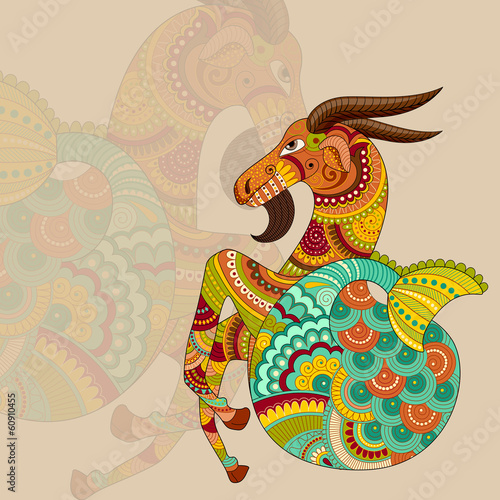vector illustration of Capricorn Zodiac Sign