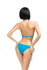 Backview of female wearing bikini, isolated on white