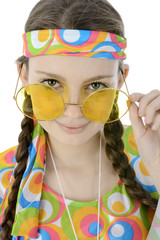 Karnevals-Kostüm Hippie mit Brille