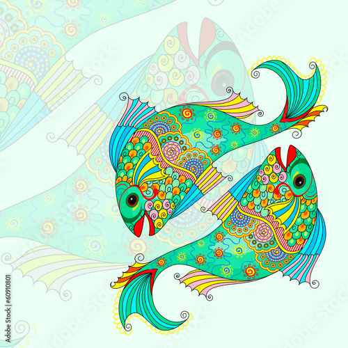 vector illustration of Pisces Zodiac Sign