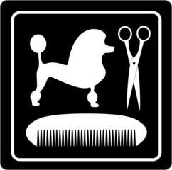 poodle dog, scissors and comb black icon