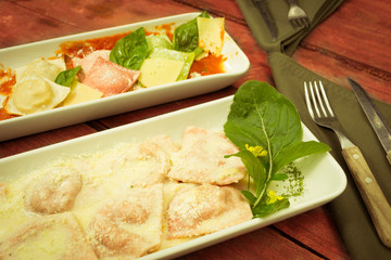 Italian ravioli with spinach color processed
