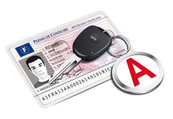 Nouveau permis de conduire avec porte-clé jeune conducteur