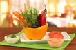 Assorted raw vegetables sticks in pepper bowl