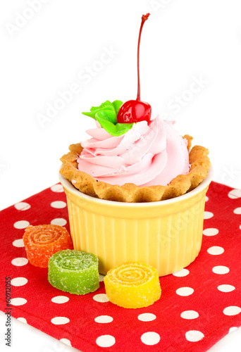 Cake with cherry in bowl for baking isolated on white