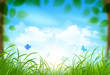 Spring landscape with clouds. Vector