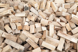 Bunch of cut wooden blocks with selective focus