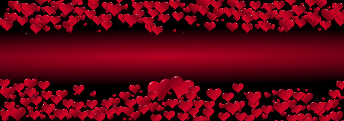Illustration of hearts on a red background centered