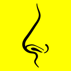 icon nose on a yellow background