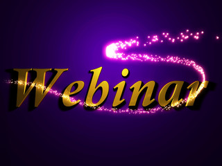 Webinar 3d inscription with luminous line with spark