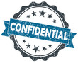 CONFIDENTIAL blue grunge vintage seal isolated on white