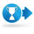 victoire sur symbole web bleu