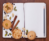 Blank notebook with cookies